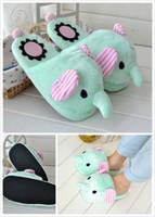 Wholesale Animal Cosplay - Wholesale-Novelty Animal Elephant Slippers Women Girls Cartoon Cosplay Floor Slipper Home Shoes