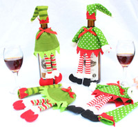 Wholesale elf hats - 2PCS Christmas Elf Red Wine Bottle Sets Cover with Christmas Hat and Clothes for Christmas Dinner Decoration Home Halloween Gift