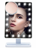 Wholesale Mirror Portable Vanity - Adjustable Vanity Tabletop Lamp 20 LEDs Lighted LED Touch Screen Mirror Makeup Portable Mirror Luminous 180 Rotating Mirror B