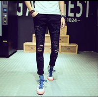 Wholesale Jeans Trou - New Famous Brand Vintage Men designer Casual Hole Ripped Jeans Mens Fashion Skinny Denim Pants Slim Fit Male Trou