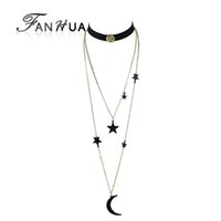 Collier De Chaîne En Suède Pas Cher-FANHUA 2pcs / set Steampunk Black Suede Fabric Gothic Choker Long Collier en or à la chaîne Multilayer Collier Star Moon Pendentif