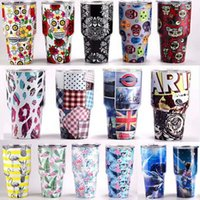 Wholesale Steel Camp Mug - 30oz Stainless Steel Mugs Cup Skull Printed Flower Tumbler Painted Insulated Camping Coffee Cup Sports Travel Mug Gifts 18 Designs HH7-112