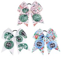 Wholesale White Star Ribbon - 7 inch Printed Star Cheer Bows Ribbon Colorful Cheer Bows with Ponytail Hair Holders for Cheerleading Girls Hair Accessories