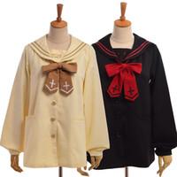 ingrosso reticolo incrociato di arco-All'ingrosso-Ragazze Cute Preppy Sailor Collar Coat Angelo / Devil Pattern Cross ricamo Bow Tie manica lunga Outwear