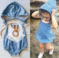 Wholesale Overalls Infant Jeans - Summer Infant Baby Cotton Faux Denim Jeans Ropmers Kids Hooded Chest Covering Style One-piece Jumpsuits Overalls Baby Climing Clothes 1764