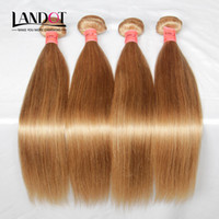 Wholesale 27 piece hair weave for sale - Group buy 4 Bundles Brazilian Peruvian Malaysian Indian Virgin Hair Straight Color Honey Blonde Brazilian Human Hair Weaves Remy Hair Extensions