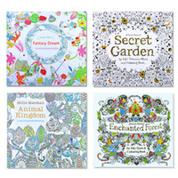 Wholesale Boys Drawing Book - DHL Shipping Secret Garden Kids Coloring Book 24 Pages Animal Kingdom Enchanted Forest Fantasy Dream Painting Drawing Book For Baby Adult