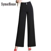 Wholesale Elegant High Waist Trousers - SymorHouse New Arrival Fashion Office Lady Pants Woman Elegant Button Design High Waist Long Trousers Wide Leg Casual Pants