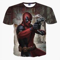 Wholesale 3d Movie X - HOT Movie COS X-Men Deadpool Harajuku Cosplay Costume Tee Shirt Short Sleeve SIMPLE Unisex 3D S M L XL 2XL