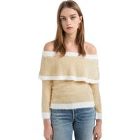 Wholesale Fuzzy Sweaters - 2017091917 Autumn Women's Fuzzy Striped Off Shoulder Sweater Sweet Beige Long Sleeve Jumper Fashion Elegant Pullover Tops