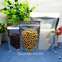 Wholesale Plastic Bag Reclosable - 9*14cm,100pcs Stand up translucent aluminium ziplock bag - Front clear reclosable metallic aluminum mylar plastic pouch zipper seal