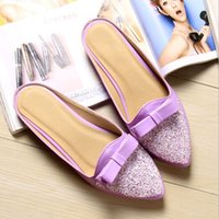 Wholesale Bling Bow Flats - Woman Shoes Flats Loafers Pointed Toe Sandals Bow Slides Bling Slippers Mules Shallow White apricot purple