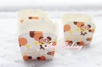 Wholesale Square Cake Paper Cup - Free shipping Mika bear cupcake case, square muffin paper cake cups, cupcakes holder