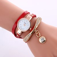 Wholesale Ladies Vintage Gold Watches - New Fashion Gold Pendant Women Watches Women Luxury Rhinestone Bracelet Watch Ladies Vintage Style Dress Wristwatches 9 Colors