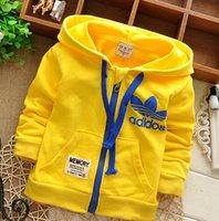 tasarım hoodies ücretsiz toptan satış-Toptan-Sıcak Satış Marka çocuk mont! Yeni 2016 Tasarım Çocuk Boys Kız Bebekler Sweatshirt En Fermuar Kapüşonlular Ceket Maliyet Ücretsiz Kargo