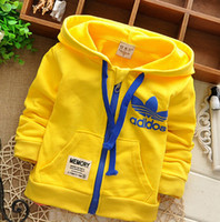Wholesale Top Designed Hoodies Jackets - Wholesale- Hot Sell Brand child coat ! New 2016 Design Kids Boys Girls Toddlers Sweatshirts Top Zipper Hoodies Jacket Cost Free Shipping
