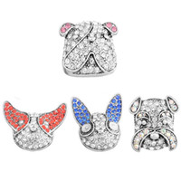 4PCs Cute Dog Head Rhinestone Snap Buttons Fit Vintage Snap Boutons Bijoux DIY Charms pour bijoux Accessoires DIY 29X25mm N212S