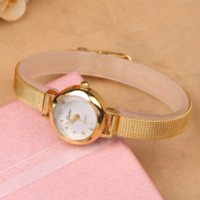 Wholesale mm photography - New Ladies Fashion Watches Women Watch Girls Royal Gold Small Dial Bracelet Quartz Stainless Steel Wrist watch Gold Clock