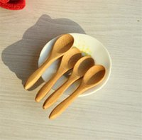Wholesale Small Honey Spoons - Wholesale New Kitchen Using Condiment Spoon Small Wooden Baby Honey Spoon 9.2*2.0cm Free Shipping