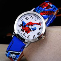 Wholesale Spiderman Wristwatch - 2015 Cartoon Spiderman Watches Fashion Children Boys Kids Students Spider-Man PU Leather Sports Watches Analog Wristwatch