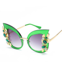 Wholesale Gemstone Cat - Inlay Gemstone Shade Rhinestone Cat Eye Sunglasses Women Eye Cat New Style Glasses Female Driving Stylish Baroque Lady Sun Glasses With Case