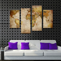 Wholesale Oil Paintings Maps - 4 Pieces Canvas Paintings Wall Art Retro Antiquated Map of World Abstract Pictures for Home Decor with Wooden Framed