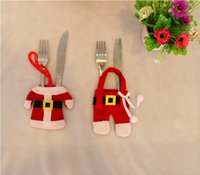 Wholesale Merry Christmas Clothing - Lovely Christmas desktop decoration Santa cloth hold knife and fork cutlery set Mini Christmas clothes for Merry Christmas gift