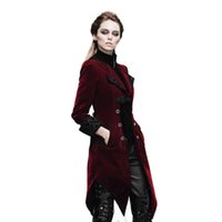 Vente en gros - Steampunk Gothic Women's Court Loyal Long Jacket Winter Broderies Imprimé Pocket Jackets Noir Rouge British Coat Taille XS-3XL