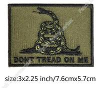 Wholesale Green Slogans - Gadsden Don't Tread On Me Tactical Slogan BIKER VEST PATCH Iron On Embroidered Motorcycle Badge Army Green MILSPEC DARK OPS SWAT