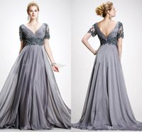 Wholesale Elie Saab Bride Dresses - Elie Saab Mother Of The Bride Dresses With Short Sleeve V Neck Appliques Chiffon Floor Length Plus Size Backless Gray Wedding Guest Dress