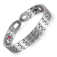 Wholesale Infrared Bracelet - Stainless Steel Bracelet with Magnet Stone or Germanium White Ion and FIR Stone 4 in 1 Far Infrared Energy Magnetic Bracelet OSB-1268SFIR