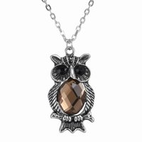 """Wholesale Owl Sweater Girls - Women Gift Jewelry Necklaces Owl pendant Necklaces Girls vintage necklaces jewelry Sweater chain(Brown) 20.9"""", 150N175"""