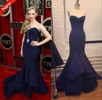Wholesale Up Slight - Real Image 2017 Navy Blue Evening Dresses Slight V-Neck Mermaid Ruffled Court Train Celebrity Gown Formal Prom Party Gowns