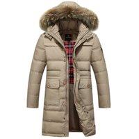 Wholesale Long Down Coat For Men - Fall-2015 Men's Winter Down Jackets White Duck Down Long Coat For Man Solid Business Fashion Men's Sportwear Hat Detachable Thicken