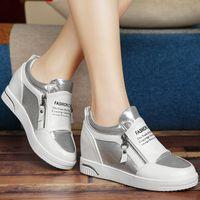 Wholesale Cool Zipper Shoes - New Comfortable Breathable wedge Shoes Super Cool Casual Shoes side zipper Woman Platform Shoes size 34-40