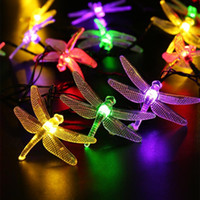 Wholesale Dragonfly Solar - Outdoor Dragonfly Solar String Lights 20LED Dragonfly Energy Saving Solar Fairy LED String Light Lamp for Christmas Garden Patio Wedding