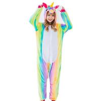 unicornio adulto sudaderas al por mayor-Rainbow Unicorn Costume Onesies Pijamas Kigurumi Jumpsuit Hoodies Adultos Disfraces de Halloween