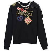 Wholesale Women Collar Crochet - Free Shipping 2017 Black Gray Pearls Collar Bow Pullover Women Brand Same Style O Neck Long Sleeves Women's Sweaters DH312