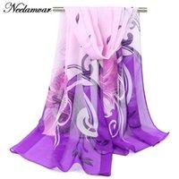 Wholesale Chiffon Headscarf - Wholesale-2016 NEW Fashion Soft Thin Chiffon Silk Scarf Women GIRL printed Scarves headscarf veil drop shipping