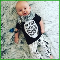 Wholesale T Shirt Decoration - 2016 Newborn baby boys girls rompers bodysuits black short t-shirt letter decoration infant one-pieces sets via epacket free shipping