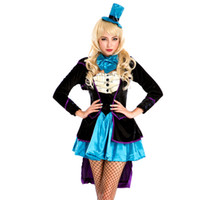 Wholesale Sexy Cosplay Alice - Sexy Princess Queen Cosplay Costume Adult Women Halloween Alice in Wonderland Lolita Dress Fantasia Magician Tuxedo Costume Outfits A158648