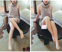 ingrosso giapponese hots sexy-All'ingrosso- 2017 Hot Virgin Killer giapponese sexy backless maglione lungo maglione senza maniche maglioni bianco nero grigio blu chiaro pullover