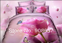 Wholesale Comforter Wedding Twill - 2014 wedding hot pink rose flower print home bedding comforter cotton queen full duvet quilt covers set bed linen coverlet 4-5pc