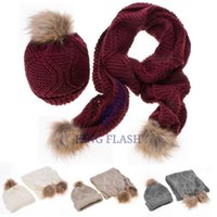 Wholesale Cheap Caps Gloves - Wholesale-Knitted Hat Fashion Lady Warm Hats Casual Cap + Winter Scarf Set Women Cheap