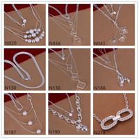 tibet silber schmetterling großhandel-Schmetterling quadratische Form 925 Silber Halskette 6 Stück viel gemischten Stil, platzen Modelle Damen Edelstein Sterling Silber Halskette EMP49