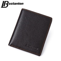 Atacado- BOSTANTEN Brand Men Wallets Genuine Cowhide Leather Designer Malhagem Masculina Luxo Marca Cheap Small Wallets Vintage Short Money Bag