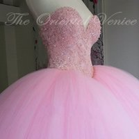 Wholesale Debutante Gowns Tulle - Princess Ball Gown Pink Quinceanera Dress 2017 Sweet 16 Dresses Beaded Sequins Sweetheart Debutante Gowns Plus Size Cheap Vestidos De 15