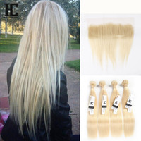 Wholesale 32 Inch Hair Extensions 613 - HC Straight #613 Blonde Ear to Ear 13x4 Full Lace Frontal Closure With 4 Bundles Peruvian Virgin Human Hair Blonde Weaves Extensions
