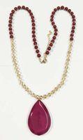 colliers de perles à facettes achat en gros de-Nouveau collier de perles de perles de verre à facettes avec une grande goutte de résine goutte de pierre bourgogne grand collier pendentif goutte de goutte collier de perles opale