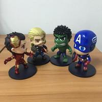 Wholesale Super Hero Cute Avengers - 11cm Q Version The Avengers PVC Figures Cute Hulk Iron Man Captain America Thor Doll Super Hero Toy Best Gift With Box W06